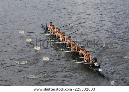 BOSTON - OCTOBER 19, 2014: Krns Osstesnde Belgium races in the Head of Charles Regatta Men's Championship Eights, Craftsbury Sculling Center won with a time of 14:20 - stock photo