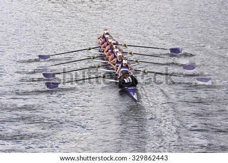 BOSTON - OCTOBER 18, 2015: Mount Saint Joseph races in the Head of Charles Regatta Women's Youth Eights - stock photo