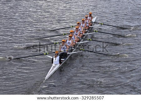 BOSTON - OCTOBER 18, 2015: Oakland Strokes races in the Head of Charles Regatta Women's Youth Eights - stock photo