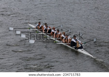 BOSTON - OCTOBER 19, 2014: Oxford Univisersity races in the Head of Charles Regatta Women's Championship Eights - stock photo