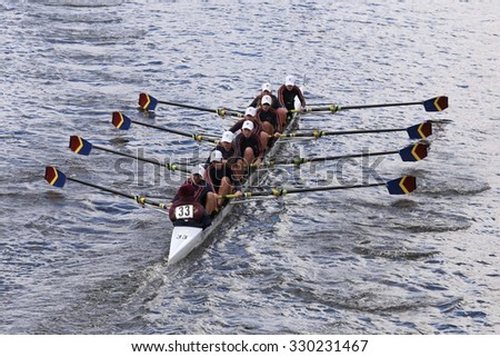 BOSTON - OCTOBER 18, 2015: Pittsford Crew races in the Head of Charles Regatta Women's Youth Eights [Public Event] - stock photo