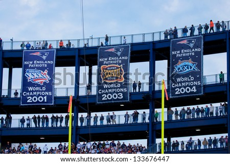 BOSTON - OCTOBER 16: Super Bowl Champion banners at Gillette Stadium, New England Patriots vs. the Dallas Cowboys, October 16, 2011 in Foxborough, Boston, MA - stock photo