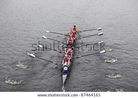 BOSTON - OCTOBER 23: Yale University races in the Head of Charles Regatta, Harvard University won with a with a time of 14:17 on October 23, 2011 in Boston, MA. - stock photo