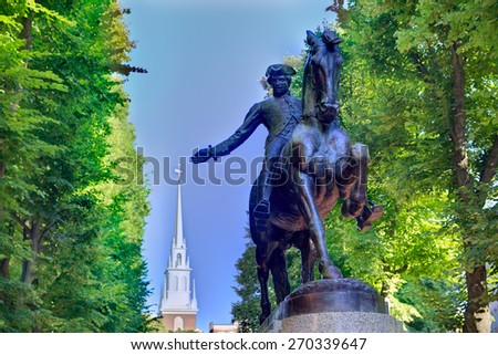Boston Paul Revere Mall statue and Old North church background Massachusetts - stock photo