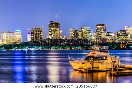 Boston pier skyline  with skyscrapers on Charles river - stock photo