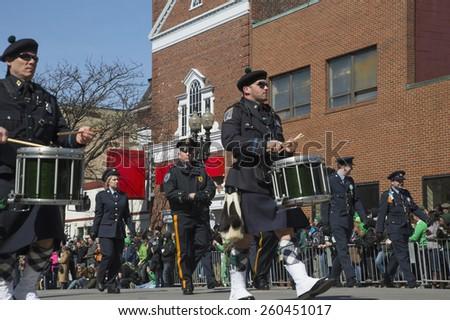 Boston Police, St. Patrick's Day Parade, 2014, South Boston, Massachusetts, USA, 03.16.2014 - stock photo