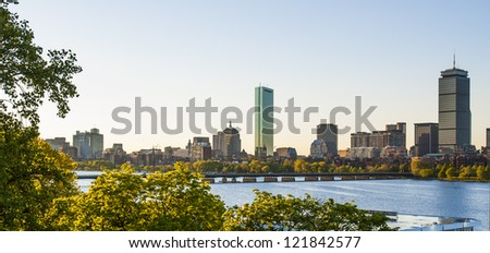 Boston's Back Bay skyline and Charles River in the afternoon - stock photo