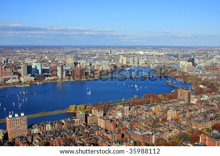 Boston's downtown, aerial view of the Charles River and the Cambrige University, Boston in the autumn, panorama of the Charles River in Boston, Boston's Prudential Building panorama - stock photo