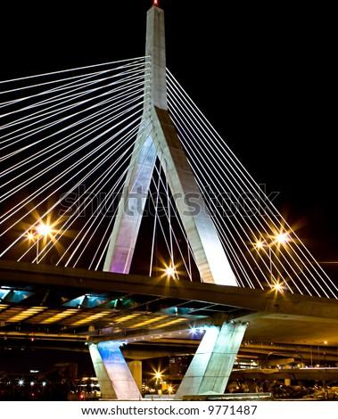 Boston's Leonard P Zakim Bridge - stock photo