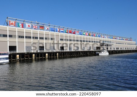 BOSTON - SEP 14: Seaport World Trade Center in Boston, as seen on Sep 14, 2014. The building is located on the Boston waterfront at Commonwealth Pier, in the South Boston neighborhood - stock photo