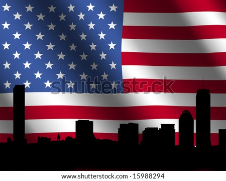 Boston skyline against rippled American Flag illustration - stock photo
