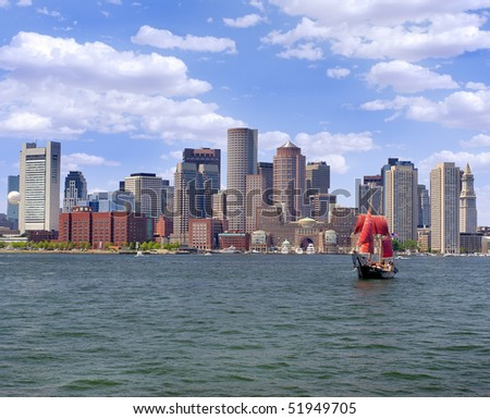 Boston skyline and cruise boat on the foreground - stock photo