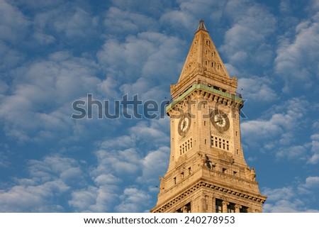 Boston Skyline and Custom House at Sunrise, Boston, Massachusetts - stock photo