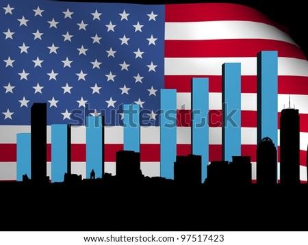 Boston skyline and graph over American flag illustration - stock photo