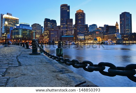 Boston skyline at dusk, Boston, MA, USA - stock photo