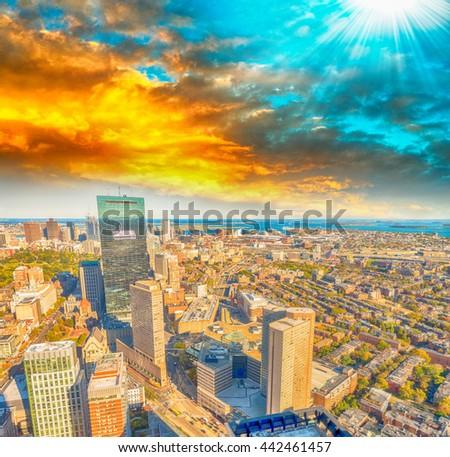 Boston skyline at sunset, MA. - stock photo