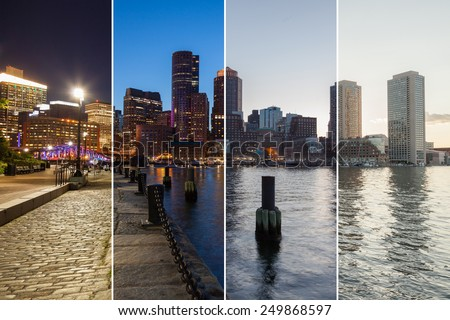 Boston skyline day to night montage - Massachusetts - USA - United States of America - stock photo