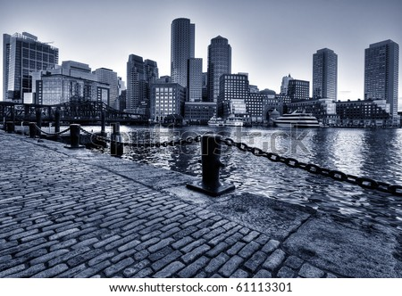 Boston Skyline in Massachusetts, USA. Black and White Photo. - stock photo