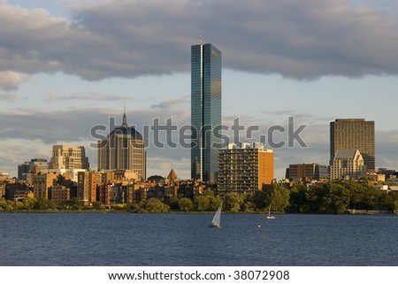 Boston skyline in the evening sun - stock photo