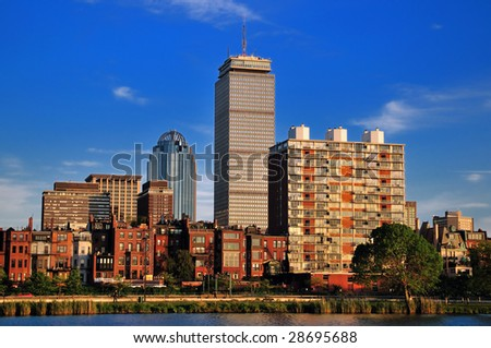 Boston skyline on a bright summer day - stock photo