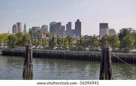 Boston skyline scenic, usa - stock photo