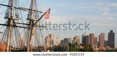 Boston skyline, USS Constitution Battleship