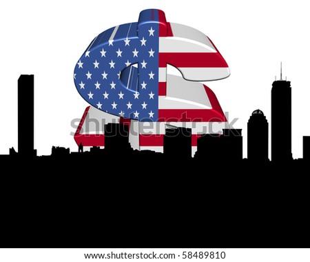 boston skyline with American flag dollar symbol illustration - stock photo