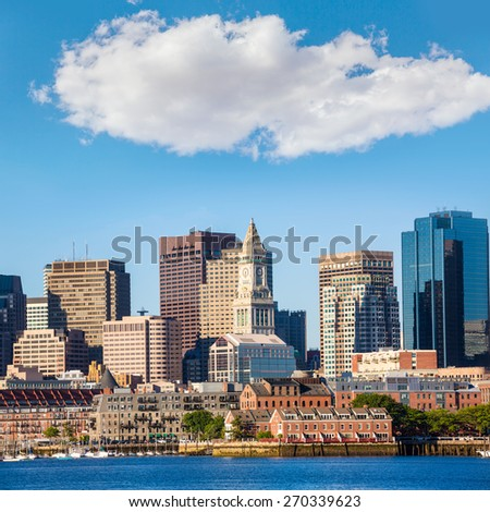 Boston skyline with river in sunlight at Massachusetts USA - stock photo