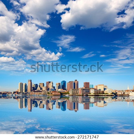 Boston skyline with river in sunlight at Massachusetts USA - stock photo