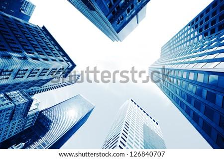 Boston Skyscrapers. Blue toned. - stock photo