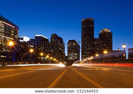 Boston streets by night, Massachusetts - USA - stock photo