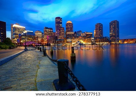 Boston sunset skyline from Fan Pier in Massachusetts USA - stock photo