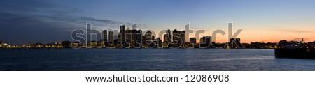 Boston Twilight Skyline Panoramic - stock photo