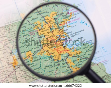 Boston under magnifier - stock photo