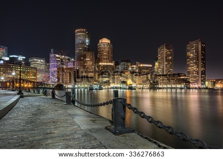 Bostons waterfront and harbor - stock photo