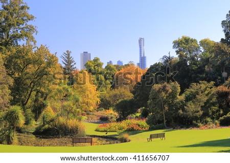 Botanic Gardens cityscape Melbourne Australia  - stock photo