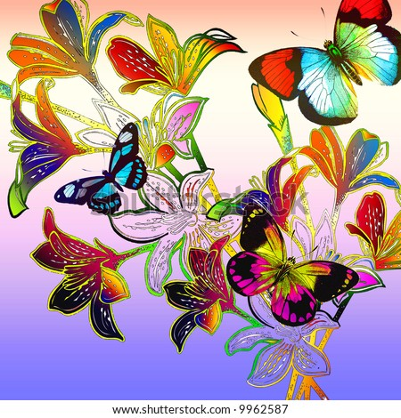 Botanical rainbow floral arrangement with textured detail and bold outlines.  Colorful mosaic butterflies around stems. - stock photo
