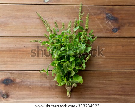 botany, gardening and herbs concept - close up of fresh melissa bunch on wooden table - stock photo