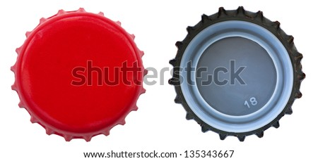 Both sides of a red metal bottle cap. One of the top side and one of the bottom side. Isolated on white background. - stock photo