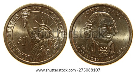 Both sides of a US dollar coin, isolated on a white background.  - stock photo