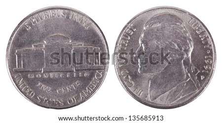 Both sides of a USA 5 cents (nickel) coin isolated on white background. - stock photo