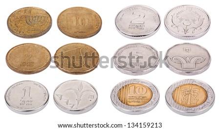 Both sides of Israeli coins isolated on white background. Values: 10 Agorot; 1/2 a Shekel (50 Agorot); 1 Shekel; 2 Shekels (Shnekel); 5 Shekels; 10 Shekels. - stock photo