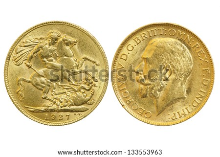 both sides of sovereign 1927 coin isolated on white - stock photo