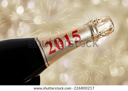 Botte of champagne for 2015 - stock photo
