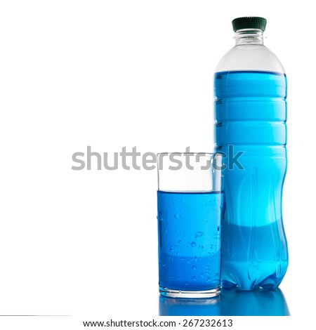 Bottle and glass of water isolated on white background - stock photo