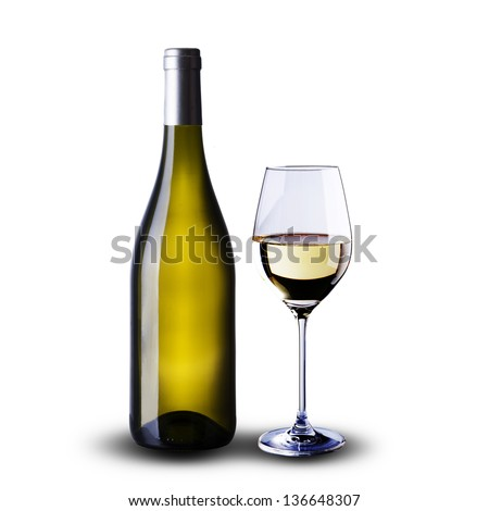Bottle and glass of white wine on white background - stock photo
