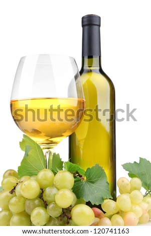bottle and glass of wine and grapes, isolated on white - stock photo