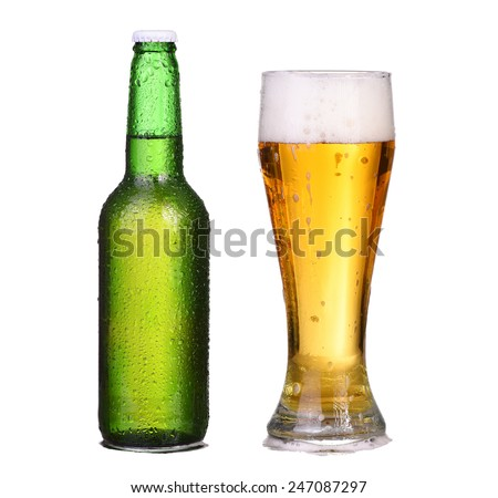Bottle and glass with foam beer isolated on white - stock photo