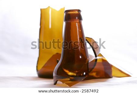 bottle broken - stock photo