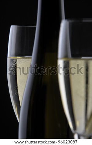 bottle champagne and glass - stock photo